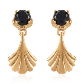 Boi Ploi Black Spinel (Rnd) Earrings (with Push Back) in 14K Gold Overlay Sterling Silver 1.500 Ct.