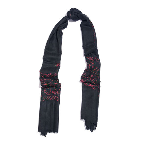 TJC SPECIAL- HAND MADE KANTHA Embroidered 100% Merino Wool Black and Pink Scarf with Fringes (Size 190X70 Cm)