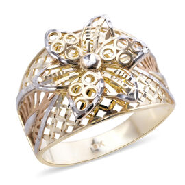 Royal Bali Collection 9K Yellow and White Gold Frangipani Love and Unity Ring, Gold wt 3.50 Gms