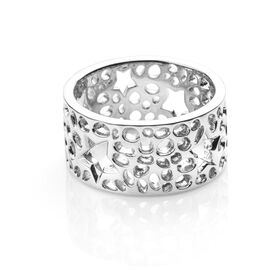 RACHEL GALLEY Rhodium Overlay Sterling Silver Star Lattice Band Ring, Silver wt 6.12 Gms.