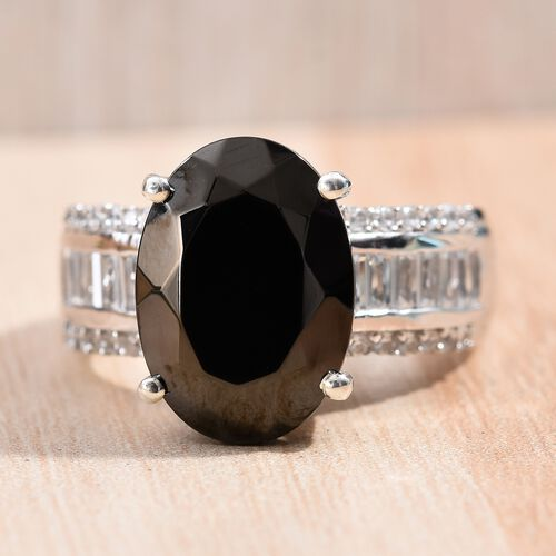 Elite Shungite (Ovl 14x10 mm), Natural Cambodian Zircon Ring in Platinum Overlay Sterling Silver 4.75 Ct, Silver wt 5.47 Gms