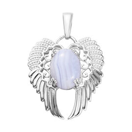 7 Carat Blue Lace Agate Angel Wing Pendant in Platinum Plated