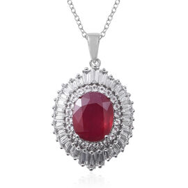 African Ruby (Ovl 12x10 mm), White Topaz Pendant with Chain (Size 18) in Rhodium Overlay Sterling Si
