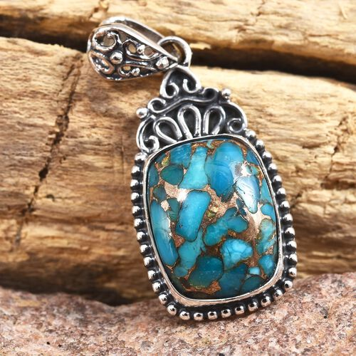 Blue Mojave Turquoise (Cush 16x12 mm) Pendant in Sterling Silver 10.370 Ct.