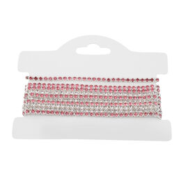 Set of 4 White and Fuchsia Colour Austrian Crystal Adjustable Tennis Bracelet 6 to 9.5 Inch