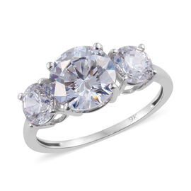J Francis - 9K White Gold (Rnd) Ring (Size S) Made With SWAROVSKI ZIRCONIA