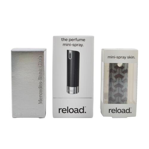 Reload Mini Perfume Spray Black (Incl. Mercedes Club Mini Men - 5ml & Grey Pattern)