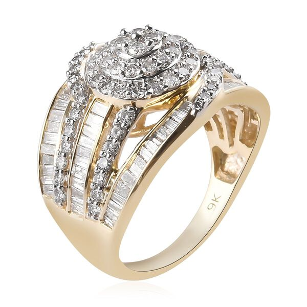 Signature Collection- 9K Yellow Gold SGL Certified (I2/I3) Diamond  Ring 2.00 Ct, Gold wt 5.50 Gms