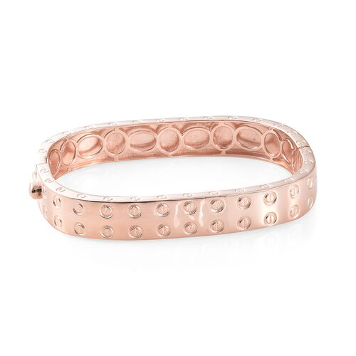High End Designer Inspired -18K Rose Gold Plated Bangle (Size 7.75) with Screw Texture Pattern