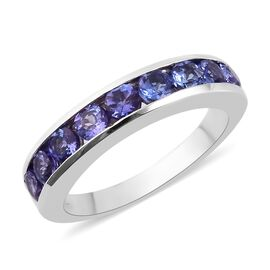 9K White Gold AAA Tanzanite Half Eternity Band Ring 1.15 Ct.