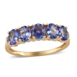 9K Yellow Gold AA Tanzanite and White Diamond Ring 1.80 Ct.