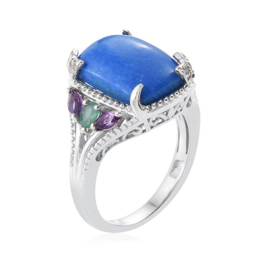 Ceruleite (Cush 5.10 Ct), Kagem Zambian Emerald, Amethyst and Natural Cambodian Zircon Ring in Platinum Overlay Sterling Silver 5.750 Ct.