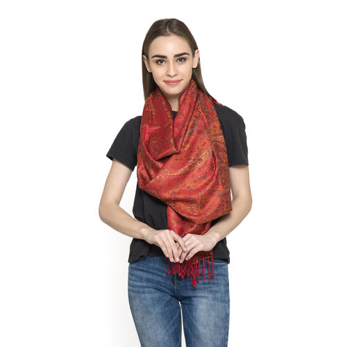 SILK MARK - 100% Superfine Silk Red, Yellow and Multi Colour Jacquard Jamawar Scarf with Fringes at