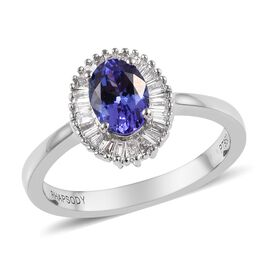RHAPSODY 1 Ct AAAA Tanzanite and Diamond Halo Ring in 950 Platinum 4 Grams
