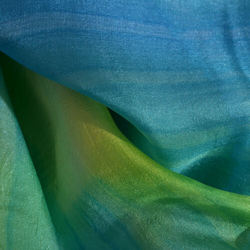 100% Mulberry Silk Blue, Green and Yellow Colour Handscreen Printed Scarf (Size 200X88 Cm) (Silk Wt. 40 Gms)