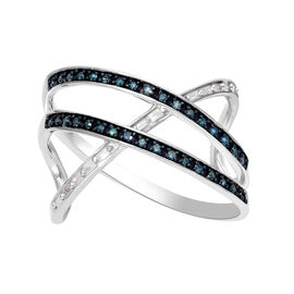 White Diamond and Blue Diamond Criss-Cross Overlap Ring in Platinum Overlay Sterling Silver 0.27 Ct.