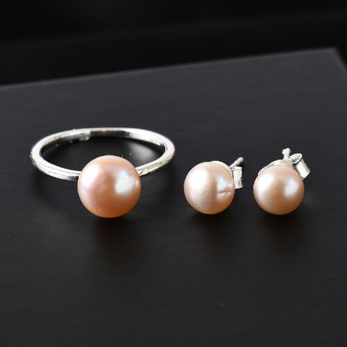 OTO - 2 Piece Set -  Pink Fresh Water Pearl Solitaire Stud Push Post Earring and Solitaire Ring  Sterling Silver 6.50 ct  6.326  Ct.