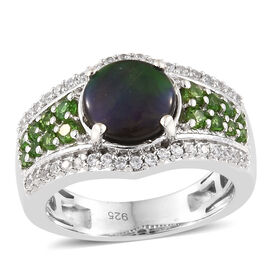 2.25 Ct AA Canadian Ammolite and Multi Gemstone Cluster Ring in Platinum Plated Silver