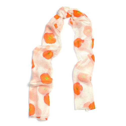 100% Mulberry Silk Red Flower Pattern Cream Colour Scarf (Size 180X100 Cm)