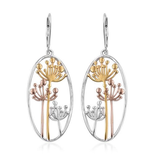 Platinum, Yellow and Rose Gold Overlay Sterling Silver Hook Earrings (with Lever Back), Silver wt 5.80 Gms.