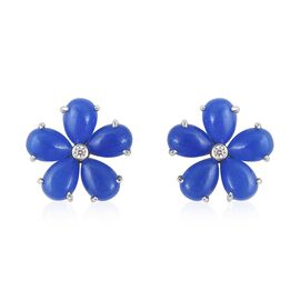 Blue Jade (Pear), Natural White Cambodian Zircon Floral Stud Earrings (With Push Back) in Rhodium Ov