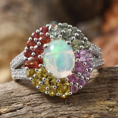 Ethiopian Welo Opal (Ovl 1.50 Ct), Rainbow Sapphire and Natural Cambodian Zircon Floral Ring in Platinum Overlay Sterling Silver 5.000 Ct. Silver wt 5.00 Gms.