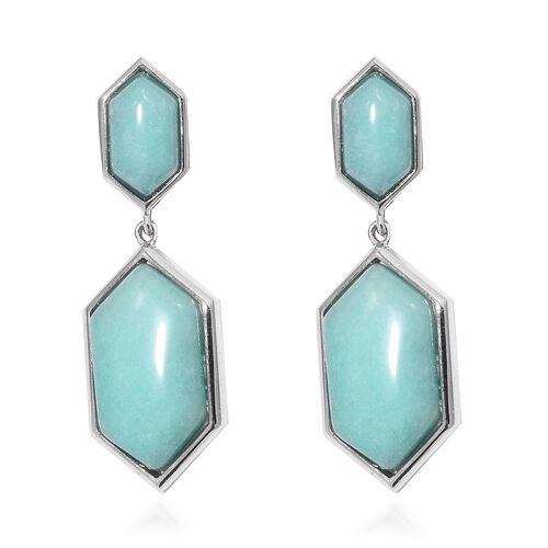 Designer Inspired - Russian Amazonite (Hexagon 18x10 mm) Clip-On Drop Earrings (25.000 Ct) in Silver Tone