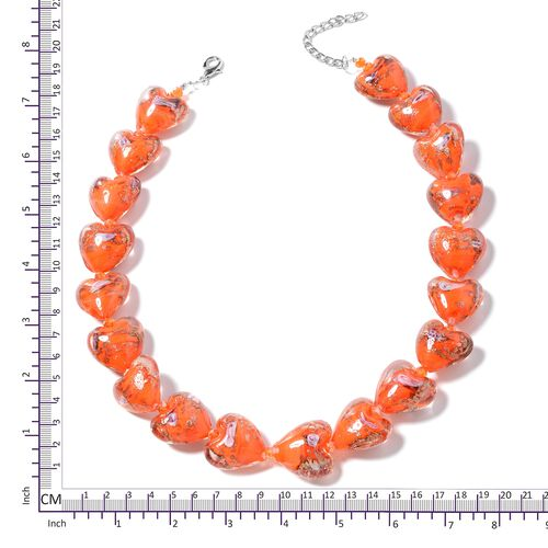 Murano Style Glass (Hrt), Simulated Orange Topaz Necklace (Size 23 with 2 inch Extender) in Silver Bond