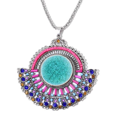Simulated Sleeping Beauty Turquoise, Simulated Multi Colour Gem Stone, Blue and Champagne Austrian Crystal Chinese Folding Fan Style Pendant with Chain (Size 28) and Hook Earrings in Silver Tone