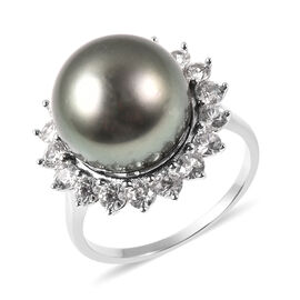Tahiti Pearl and Natural Cambodian Zircon Halo Ring in Rhodium Overlay Sterling Silver