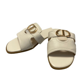Close Out Deal- Suede Crossover Circle Mule Sandal   - White