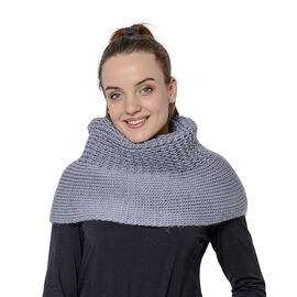 Solid Grey Infinity Knit Scarf (Size 32x70cm)
