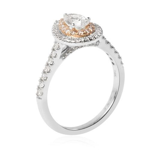 Manhattan Closeout- 14K White Gold GSI Certified White Diamond (I1/G-H), Natural Pink Diamond Ring 1.00 Ct.