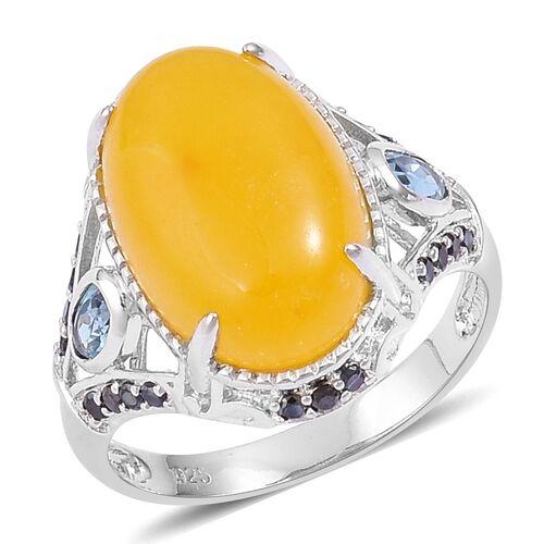 Honey Jade (Ovl 12.50 Ct), London Blue Topaz and Boi Ploi Black Spinel Ring in Platinum Overlay Ster