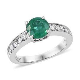 RHAPSODY 950 Platinum AAAA Kagem Zambian Emerald (Rnd 1.25 Ct), Diamond (VS/E-F) Ring 1.550 Ct.