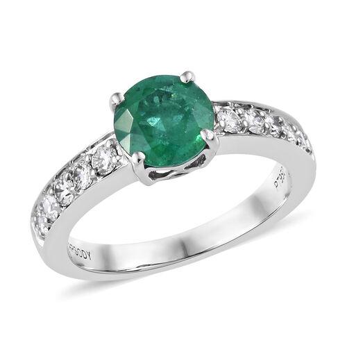 RHAPSODY 1.55 Ct Zambian Emerald and Diamond Solitaire Design Ring in 950 Platinum 4 Grams