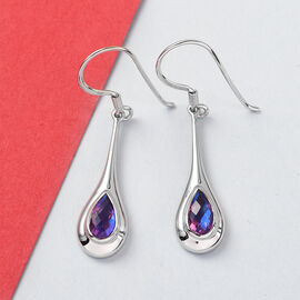 Sajen Silver ILLUMINATION Collection - Rainbow Lavender Doublet Quartz Fish Hook Earrings in Platinum Overlay Sterling Silver 1.95 Ct.