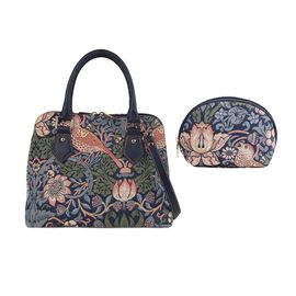 Signare Tapestry - 2 Piece Set Strawberry Thief Design Convertible Handbag with Free Matching Cosmet