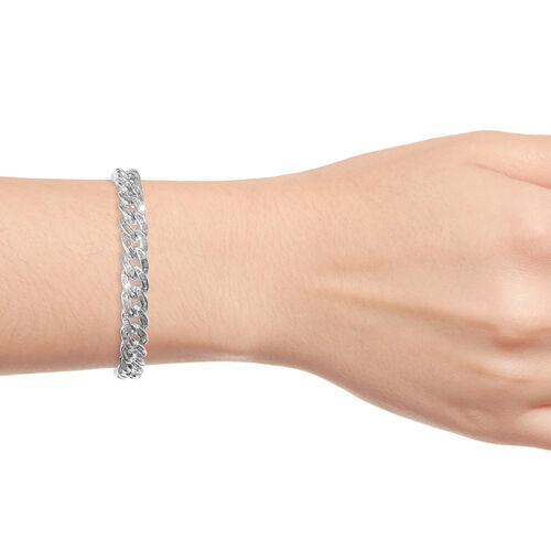 Diamond (Bgt) Curb Bracelet (Size 8) in Platinum Overlay Sterling Silver 3.000 Ct, Silver wt 23.32 Gms,