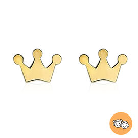 Children Crown Stud Earrings in 9K Yellow Gold