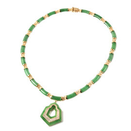 Green Jade and Natural Cambodian Zircon Necklace (Size 18)  in Yellow Gold Overlay Sterling Silver 1