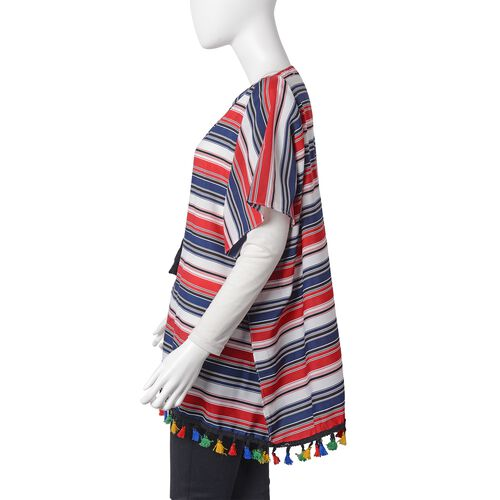 Red, Black and Multi Colour Stripes Pattern Poncho with Tassels (Size 80x75 Cm)