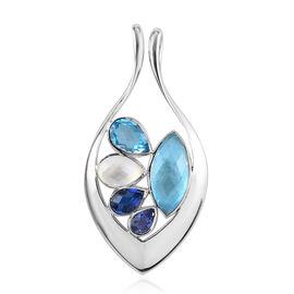 Sajen Silver ILLUMINATION Collection - Celestial Doublet Quartz Swiss Blue Pendant in Rhodium Overla