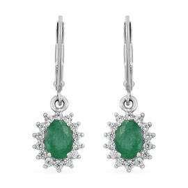 One Time Deal- Brazilian Emerald and Natural Cambodian Zircon Earrings in Platinum Overlay Sterling Silver 1.030 Ct.