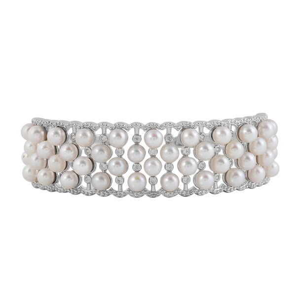 Japanese Akoya Pearl and Zircon Cuff Bangle in Rhodium Plated Silver 24.50 Grams 7.5 Inch