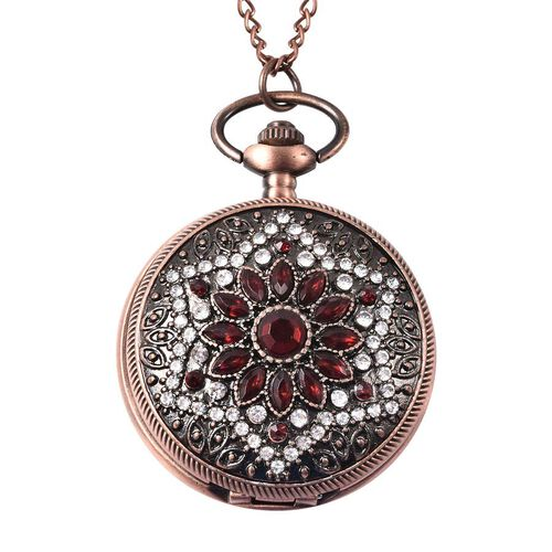 STRADA Japanese Movement Simulated Ruby, White Austrian Crystal Flower Pattern Pocket Watch with Cha