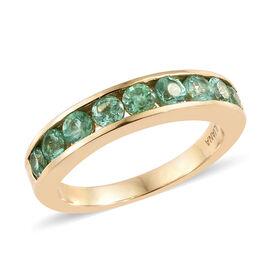 ILIANA 18K Yellow Gold AAA Boyaca Colombian Emerald (Rnd) Half Eternity Band Ring (Size N) 1.000 Ct.