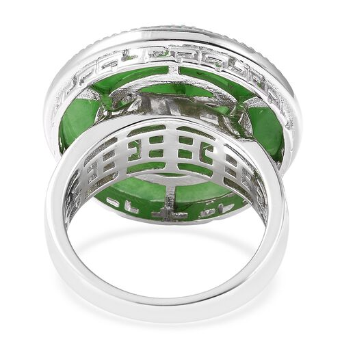 Green Jade Ring in Rhodium Overlay Sterling Silver 17.00 Ct, Silver wt 8.12 Gms