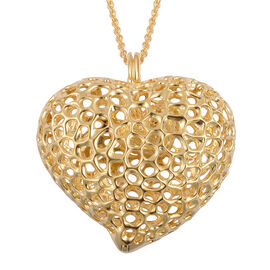 RACHEL GALLEY Yellow Gold Overlay Sterling Silver Lattice Heart Necklace (Size 30), Silver wt. 33.00