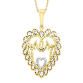 Mum Heart Pendant with 18 Inch Chain in 9K Yellow and White Gold